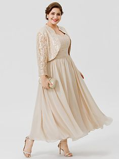 Ball Gown Straps Tea Length / Ankle Length Chiffon / Beaded Lace Sleeveless Plus Size / Elegant Moth Mother Of The Bride Jackets, Mother Of The Bride Plus Size, Mother Of The Bride Dresses Long, Wedding Dresses With Straps, Mothers Dresses, Wedding Dresses Plus Size, Plus Size Dresses, Bridal Dresses, Dresses With Sleeves