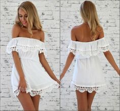 Sexy Bateau Neck Off The Shoulder Short Sleeves Flouncing Designed White A Line Mini Dress
