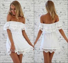 Sexy Bateau Neck Off The Shoulder Short Sleeves Flouncing Designed White A Line Mini Dress