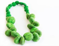necklace by Vacide Erda Zimic.Love the colour. Paper Jewelry, Textile Jewelry, Fabric Jewelry, Jewelry Crafts, Jewelry Art, Crochet Necklace, Beaded Necklace, Crochet Jewellery, Necklaces