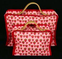 Gisela Graham Set Of 2 Pink Strawberry Fabric Suitcase Overnight Bag: Amazon.co.uk: Kitchen & Home
