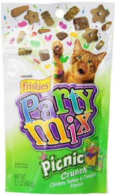 Friskies Party Mix Cat Treats Picnic Crunch Chicken Turkey  Cheddar Flavors 21Ounce Pouch Pack of 10 ** Check out this great product.
