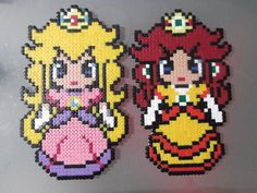 Peach and Daisy perler beads by anyeshouse on deviantart