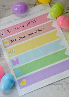 Cute idea! Print off these Candy Free Easter Baskets Ideas for Kids! Instead of giving candy, give away coupons for screen time, a date with mom or dad, a later bedtime or whatever your kids love most!
