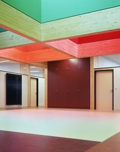 Kindergarten with colorful ceiling panels.