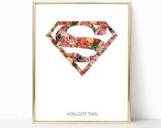 Supergirl, Superwoman, superhero print, Supergirl Print, Superwoman Print, Girl Superhero Wall Art, Girl Room Prints, Girl Superhero