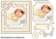 sweet smiling little baby girl with bow on Craftsuprint - Add To Basket!
