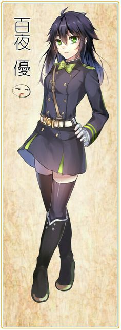 """Hyakuya Yuichiro"" genderbend - I love it! We need a Mikaela one too."