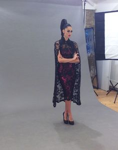 From the recent fashion shoot: a model is wearing Katayoon London dress and our skull and crystal earrings