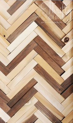 DIY Herringbone Wall Art Using Wood Shims Thrifty and Chic - DIY Projects and Home Decor<br> herringbone pattern wall art Big Wall Art, Metal Tree Wall Art, Unique Wall Art, Wooden Wall Art, Wall Wood, Wood Walls, Herringbone Wall Art, Herringbone Pattern, Chevron Wall Art