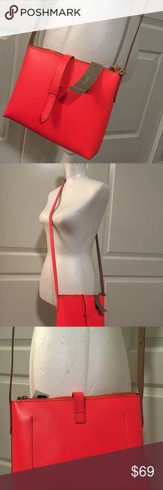 "NWT J Crew Florescent Orange Crossbody Purse NWT gorgeous leather purse Length 8"" Height 6.5"" Depth 1.75"" J. Crew Bags Crossbody Bags"