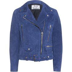 ACNE STUDIOS Mock Suede Navy // Suede biker jacket ($1,520) ❤ liked on Polyvore featuring outerwear, jackets, blue, coats, coats & jackets, moto jacket, suede moto jacket, blue biker jacket, suede leather jacket and biker jacket