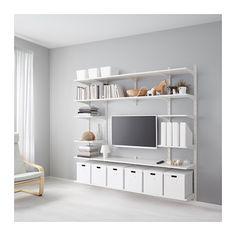 IKEA - ALGOT, Guida da parete/ripiani, Gli elementi della serie ALGOT si possono combinare in molti modi diversi, così puoi adattare la tua soluzione alle tue esigenze e al tuo spazio.Utilizzabile anche nei bagni e negli altri ambienti umidi della casa.Non devi fare altro che agganciare le staffe alle guide da parete ALGOT, dove hai bisogno di un ripiano o di un accessorio: non servono attrezzi.