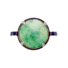 Carved Jade, Diamond and Blue Enamel Pin, Cartier