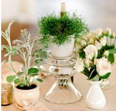 mixed vintage glassware for wedding centerpieces