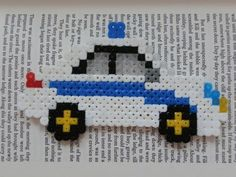 Cop car hama bead magnet by pinkthing123
