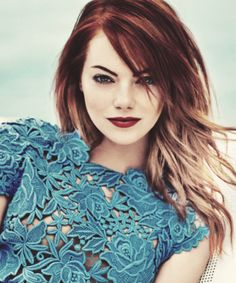 Emma Stone red and blonde ombre hair, now this is what color I want, and a similar cut but maybe shorter....