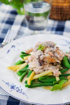 Snabblagad och enkel vardagsmat - bönor med svamp- och skinksås! #lowcarb #lchf #lowcarbrecipes