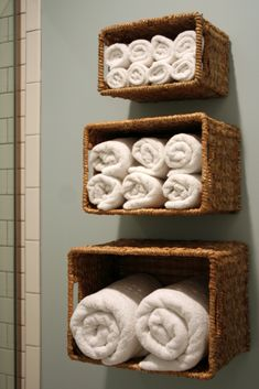 I'm Busy Procrastinating: Design solution: Wall baskets for bath linen storage