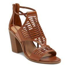Women's Kerina Leather Braided Heeled Huarache Sandals Merona - Cognac (Red) 10