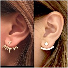 2 pairs of Ear Jackets - Adjustable and Must-haves!    The material of earrings is Gold plated zinc alloy. Its nickel free.    Ship fast.