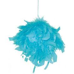 Boule en plumes turquoise 10 cm