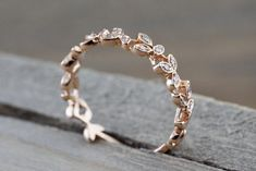 14 kt Rose Gold Diamond Leaf Petal Vine Vintage Design Rope Classic Milgrain Etching Eternity
