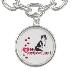 I Love My American Curl! Charm Bracelet #cats #kittens #pets #animals #americancurl
