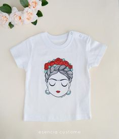 Frida baby Girl t-shirt, With flowers in the hair girl shirt, Frida Kahlo t-shirt Frida Kahlo T Shirt, Clothing Exchange, Cute Shirt Designs, Fiesta Outfit, Best Friend Outfits, T Shirt Painting, Valentine T Shirts, Painted Clothes, T Shirt Diy