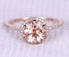 Pink morganite Engagement ring14k Rose gold8mm Round by milegem