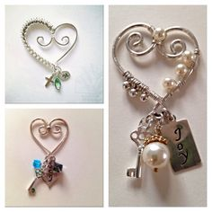 Small sterling silver hearts with examples of charms