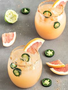 Spicy Grapefruit Jal Spicy Grapefruit Jalapeno Margarita With Tequila Grapefruit Juice Fresh Lime Juice Agave Nectar Jalapeño Ice Chili Powder Kosher Salt Lime Wedge Grapefruit Jalapeño Party Drinks, Cocktail Drinks, Fun Drinks, Healthy Drinks, Cocktail Recipes, Beverages, Margarita Cocktail, Refreshing Drinks, Healthy Food