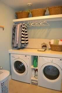 hang a rod above washer/dryer for hang dry clothes
