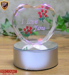 Valentine's Day Glass Heart I Love You Base LED Light up Heart Romantic Gift New #ValentinesDayGlassHeart #Custom
