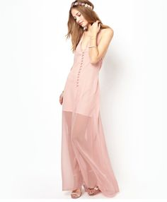 Pink Chiffon Low back maxi dress now on sale at Bellamodastore.com! only $35 and get an extra 15% OFF using code 15OFFALL !! :) HAPPY SHOPPING