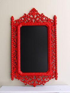 Red CHALKBOARD Magnetic Chalkboard Kitchen Chalk Board Red Black Wedding Sign Ornate Candy Apple Red Decoration Home Decor. $149.00, via Etsy.