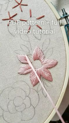 Ribbon Embroidery Tutorial, Hand Embroidery Patterns Flowers, Hand Embroidery Projects, Basic Embroidery Stitches, Hand Embroidery Videos, Embroidery Flowers Pattern, Simple Embroidery, Learn Embroidery, Hand Embroidery Designs