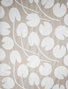 Water lilies fabric, sand - Fine Little Day Blossom Garden, Sewing Studio, Water Plants, Jacquard Weave, Water Lilies, Gift Store, Cushion Covers, Printing On Fabric, Screen Printing