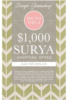 Pin to win a $,1000 Surya Shopping Spree!