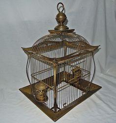 VTG ANTIQUE HENDRYX ORNATE BRASS BIRDCAGE REVOLVING CUP HOLDERS FEEDERS 1905