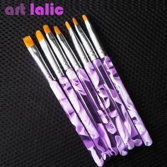 Hot Sale Professional 7 Sizes UV Gel Painting Draw Brush set New Fashion Nail Art Brush 1set /lot