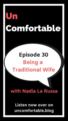"In this episode of Uncomfortable, I chat to Nadia La Russa. Nadia describes herself as a ""spiritually traditional"" wife, meaning that she lives by the bible's definition of being a wife: "" Wives must submit to their husbands as is fitting in the Lord"". (Colossians 3:18). Nadia explains what this means and how it works for her relationship and that choosing this type of relationship doesn't mean that she isn't a feminist. Click the link to listen or subscribe on your fav #podcast player!"