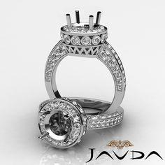 Pave Diamond Engagement Designer Filigree Ring 14k White Gold Round Semi Mount 0.7Ct