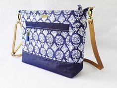 Indigo Block Print Denim Bag Indigo Prints, Indian Block Print, Print Fabrics, Print Denim, Indian Fabric, How To Make Clothes, Denim Bag, Everyday Bag, Small Wallet