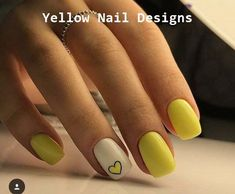 23 Great Yellow Nail Art Designs 2019 - Beauty Home Heart Nail Designs, Nail Polish Designs, Nail Polish Colors, Nail Art Designs, Yellow Nails Design, Yellow Nail Art, Love Nails, Fun Nails, Cute Summer Nails