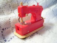 Antique Rare 1950's Red Necchi Toy Sewing by stonecottagemill,