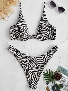 409be8f0ab686 ZAFUL Zebra High Cut Bikini Set - MULTI M High Cut Bikini, Bikini Set,