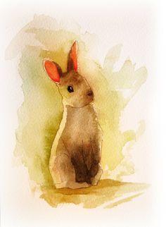Adorable watercolor Bunny. Cute artwork for a nursery. Duffzilla