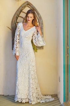 Crochet Lace Bohemian Wedding Dress OPEN BACK With BOHO Bell Sleeves Simple Elegant Gown Low Back Ivory Or White