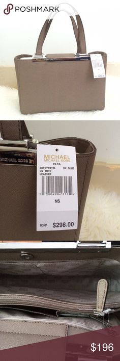 """🆕 Authentic Michael Kors Tilda Tote Dimensions: 13 3/4""""W x 9 1/4""""H x 4 1/2""""D Strap drop: 7"""" A shining, logo-etched metal bar gilds the top of a structured tote cast in richly textured Saffiano leather. Magnetic-snap tuck-tab closure. Dual interior compartments with center zip divider. Protective metal feet. Interior zip, wall and cell-phone pockets; key clip. Logo-jacquard lining. Leather. By MICHAEL Michael Kors; imported. Michael Kors Bags Totes"""